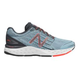 New Balance Women's 680v5 D Wide Width Running Shoes - Blue/Grey/Orange