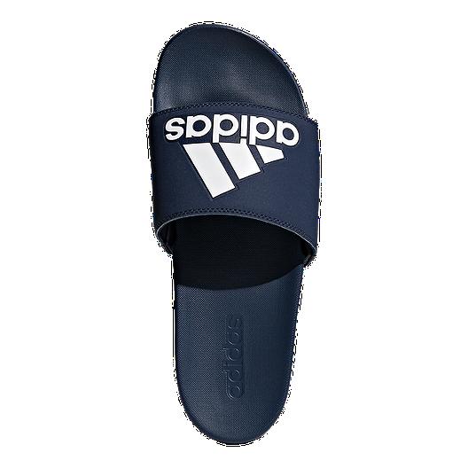 52aa56f72944 adidas Men s Adilette Cloudfoam Plus Logo Sandals - Navy White. (0). View  Description