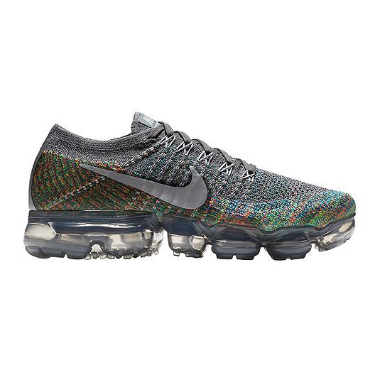 Nike Women s Air VaporMax Flyknit Running Shoes - Grey Silver Blue ... ea0ea04a5