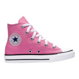 Converse Girls' Chuck Taylors All Star HI Grade School Shoes - Pink/White