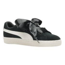 PUMA Girls' Suede Heart Jewel Grade School Shoes - Black/Crimson
