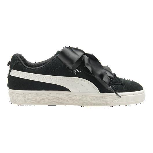 competitive price 7f120 1fc5b PUMA Girls' Suede Heart Jewel Grade School Shoes - Black/Crimson
