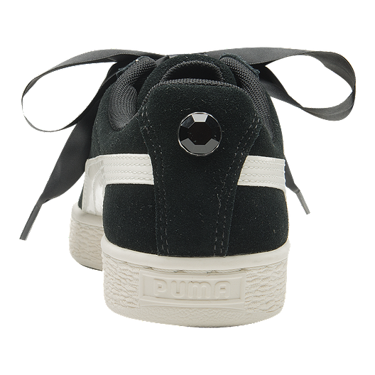 6326c2735c34 PUMA Girls' Suede Heart Jewel Grade School Shoes - Black/Crimson ...