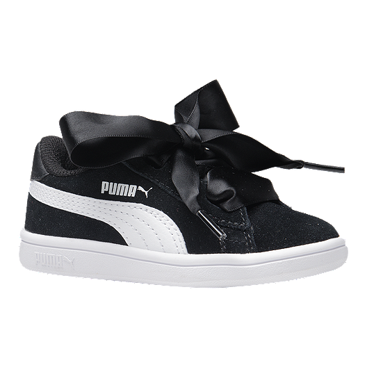 PUMA Toddler Girls' Smash V2 Ribben Shoes BlackWhite