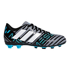adidas Kids' Nemeziz Messi 17.4 Firm Ground Outdoor Soccer Cleats - Grey/White