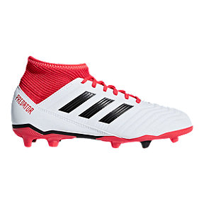 adidas Kids' Predator 18.3 Firm Ground Outdoor Soccer Cleats - White/Black/Red