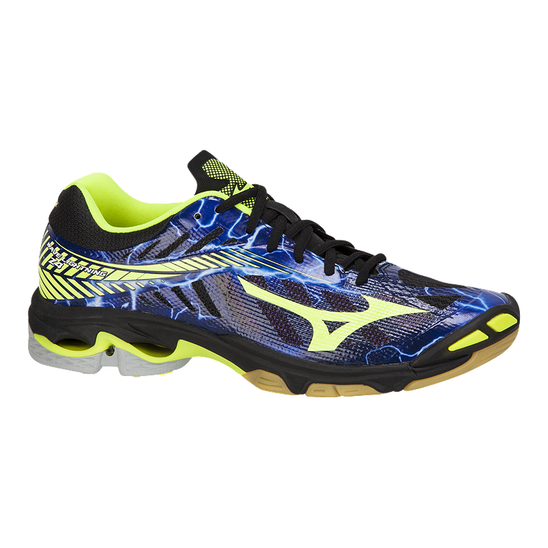 c9347578d531f Mizuno Men s Wave Lightning Z4 Indoor Court Shoes -Blue Black Yellow ...