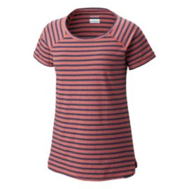 Columbia Women's Trail Shaker Stripe Short Sleeve T Shirt - Blush Pink