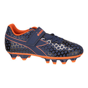 Diadora Kids' Primo FG Velcro Pre School Outdoor Soccer Cleats - Blue/Orange
