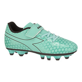 Diadora Girls' Primo FG Velcro Pre School Outdoor Soccer Cleats - Light Blue