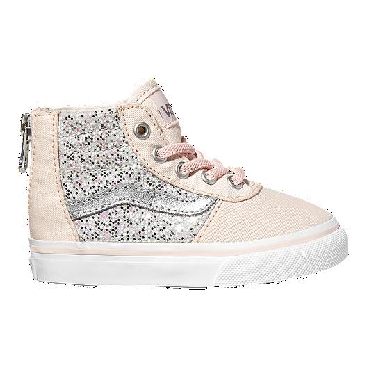 9b415a04 Vans Toddler Girls' Maddie HI Zip Shoes - Pink/Sparkles | Sport Chek