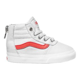Vans Infant Maddie HI Zip Shoes - White/Coral