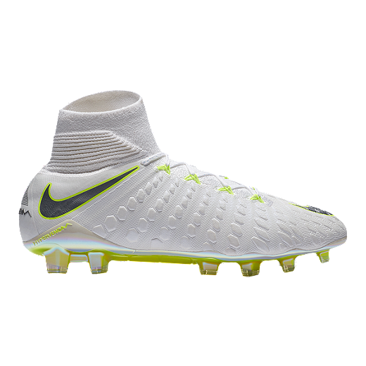 best authentic 24b0d dcee3 Nike Men's Hypervenom Phantom 3 Elite Dynamic Fit FG Outdoor Soccer Cleats  - White/Grey/Volt