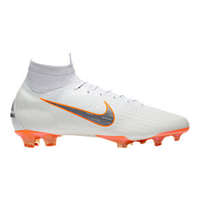 Nike Men's Mercurial Superfly 6 Elite FG Outdoor Soccer Cleats - White/Grey/Orange