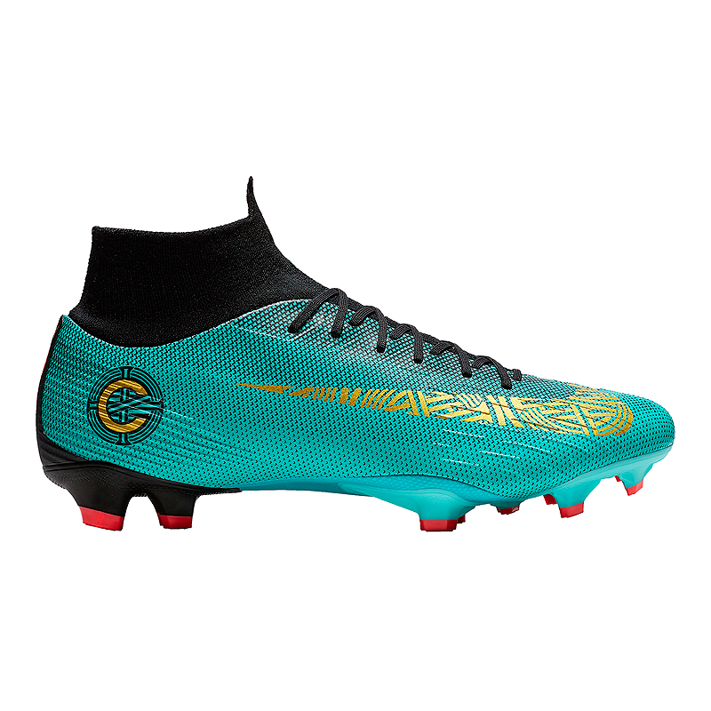 huge discount 09ffe a9522 Nike Men s Mercurial SuperFly 6 Pro CR7 FG Outdoor Soccer Cleats -  Jade Gold Black   Sport Chek