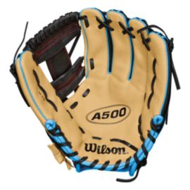 "Wilson A500 Youth 11.5"" Right Hand Baseball Glove - Black/Tan/Tropical Blue"