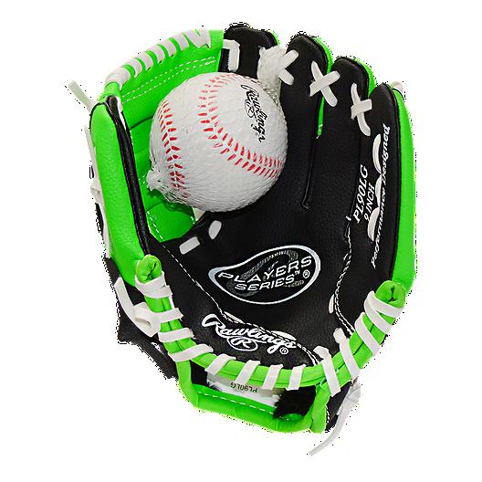 bb8638b28196 Rawlings Youth Player Series Baseball Glove - Black/Lime Green | Sport Chek
