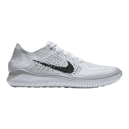 d6c601a386b Nike Men s Free RN Flyknit 2018 Running Shoes - White Black Platinum ...