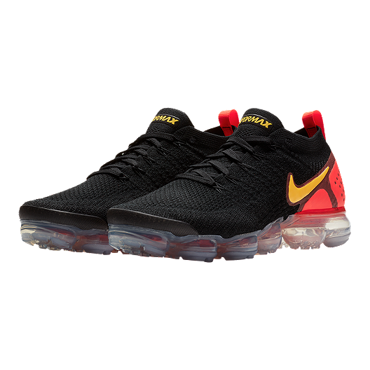 Nike Men's VaporMax Flyknit 2 Running Shoes - Black/Orange/Red