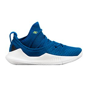 Under Armour Kids  Curry 5 Pre-School Basketball Shoes - Blue White  3ec435de035a