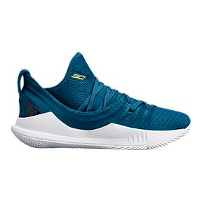 7a08e2867a29 Under Armour Kids  Curry 5 Grade School Basketball Shoes - Blue White Yellow