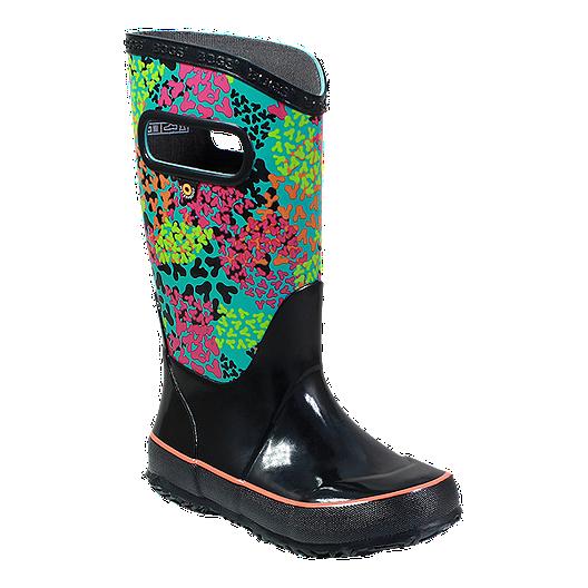 414b99bf7a Bogs Girls' Footprints Rain Boots - Black/Multi   Sport Chek