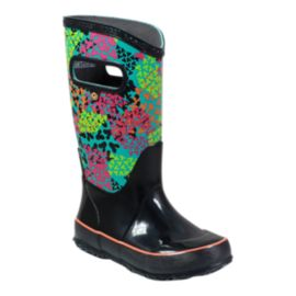 Bogs Girls' Footprints Rain Boots - Black/Multi