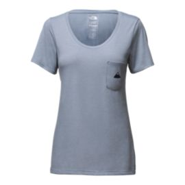 The North Face Women's Tri-Blend Short Sleeve Pocket T Shirt - Dusty Blue