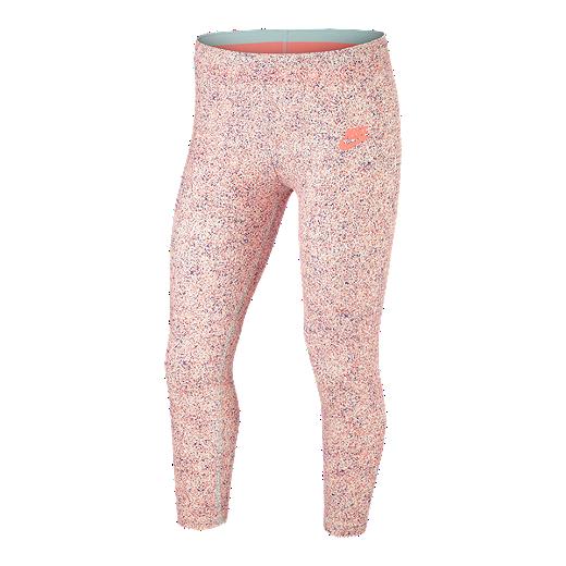 061414cb64bc31 Nike Sportswear Girls' Crop Favourites All Over Print Capri Pants - CRIMSON  TINT / LT