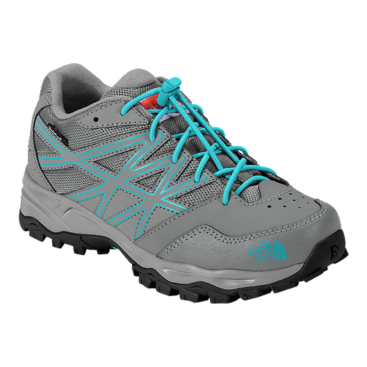 de5318fc1428 The North Face Girls  Hedgehog Hiker Waterproof Hiking Shoes - Gray Blue