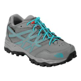 The North Face Girls' Hedgehog Hiker Waterproof Hiking Shoes - Gray/Blue