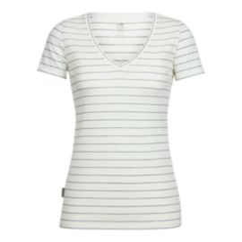 Icebreaker Women's Tech Lite Short Sleeve V Neck T Shirt - Stripe Snow