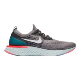 Nike Men's Epic React Flyknit Running Shoes - Grey/White/Teal