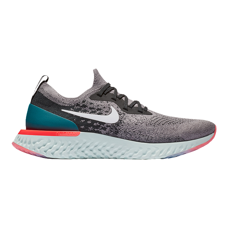23054fded92 Nike Men s Epic React Flyknit Running Shoes - Grey White Teal ...