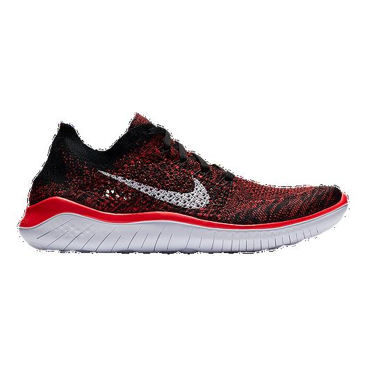 ddf44cdf23878 Nike Men s Free RN Flyknit 2018 Running Shoes - Red White Black ...