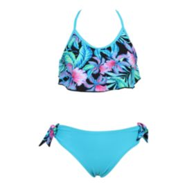 Mandarine Girls' Pool Party Flutter Top 2 Piece Swim Suit