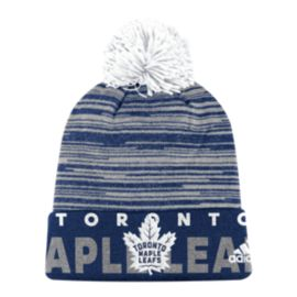 Toronto Maple Leafs adidas Striped Cuffed Pom Knit