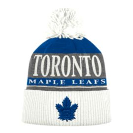 Toronto Maple Leafs adidas Cuffed Pom Stripe Knit