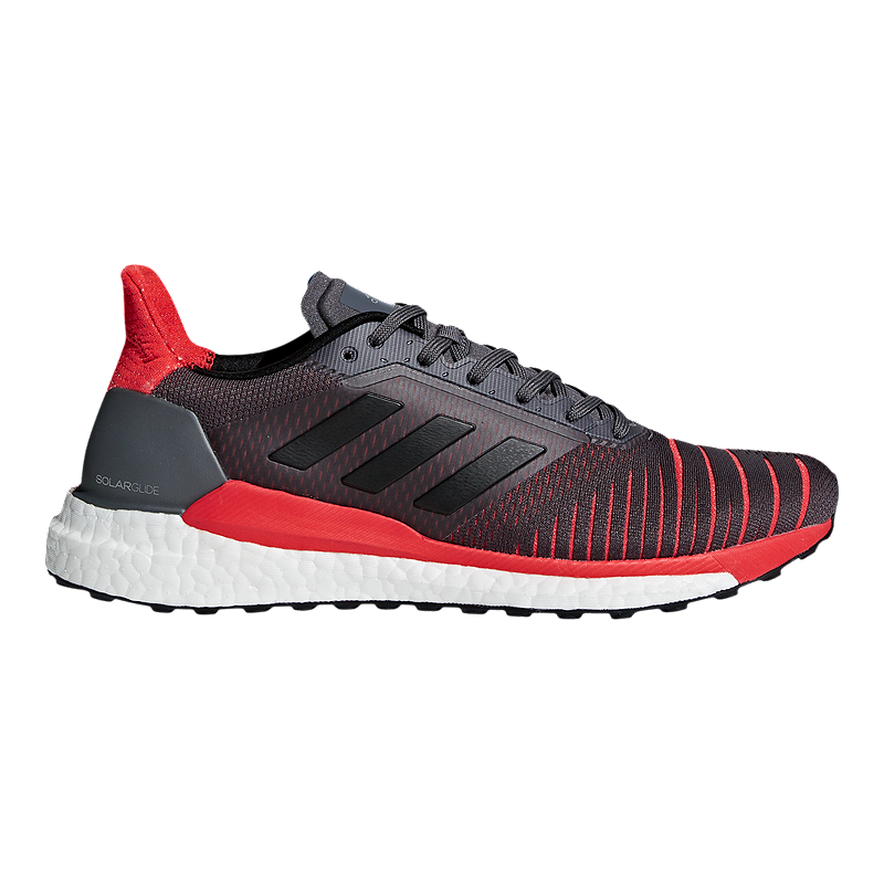 adidas Men s Solar Glide Running Shoes - Grey Black Red  e917fd30325
