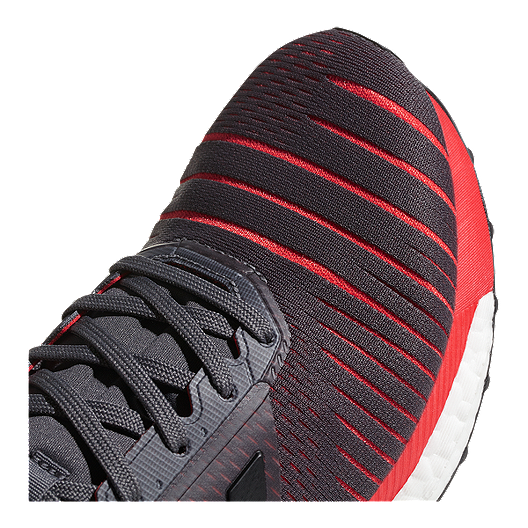 9738f81abe9d6 adidas Men s Solar Glide Running Shoes - Grey Black Red