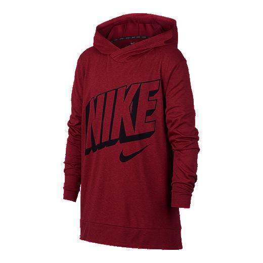 3cb92a31 Nike Dry Boys' Breathe Hyper Long Sleeve Hooded Shirt - RED CRUSH /  UNIVERSITY RED
