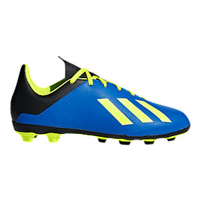 adidas Kids' X 18.4 Firm Ground Soccer Cleats - Blue/Yellow/Black