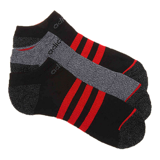 a57f41a384452 adidas Men's 3 Stripes No Show Socks - 3-Pack - BLACK/SCARLET
