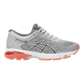 ASICS Women's GT 1000 6 Running Shoes - Mid Grey/Carbon/Coral