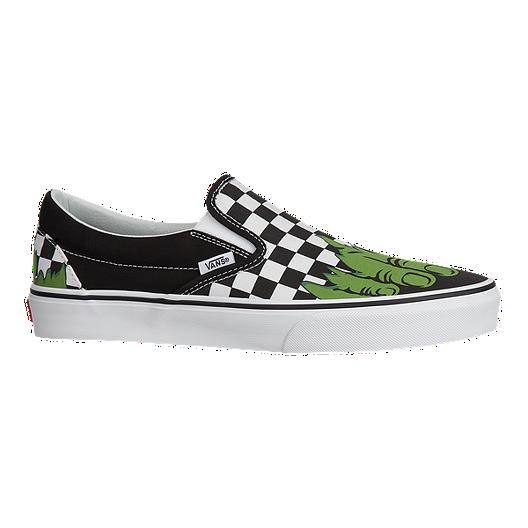 0b2e5cfe21 Vans Men s Classic Slip On Marvel Hulk Shoes - Checkerboard