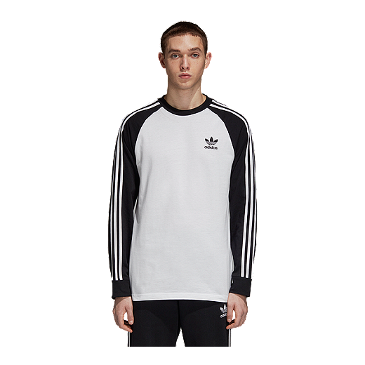 985fbf41 adidas Originals Men's 3 Stripe Long Sleeve Shirt - WHITE/BLACK