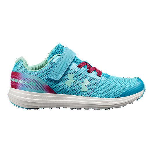 9c5738409 Under Armour Girls  Surge RN Prism Preschool Shoes - Blue Fuschia Green