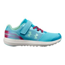 Under Armour Girls' Surge RN Prism Preschool Shoes - Blue/Fuschia/Green