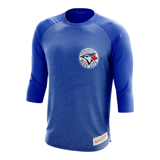 timeless design 0cf76 8c325 Toronto Blue Jays Mitchell and Ness CT Patch Raglan 3/4 Top