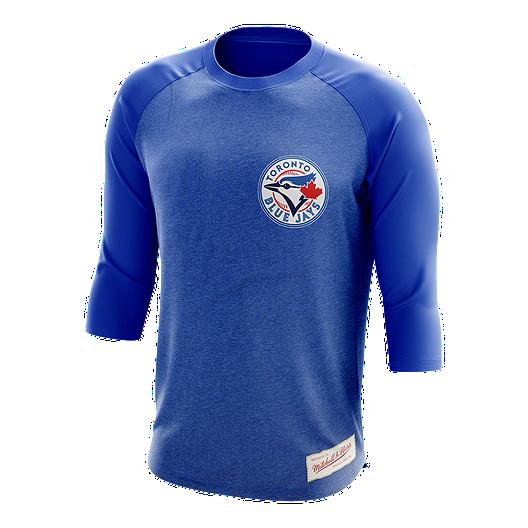 timeless design bf7b5 5c2fe Toronto Blue Jays Mitchell and Ness CT Patch Raglan 3/4 Top